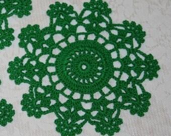 4 Crochet Thread coaster mini doily Green Star