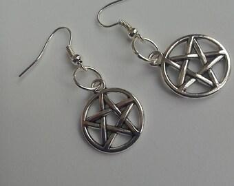Silver Pentagram Pentacle earrings