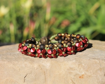 red Lava Pinch Beads-beaded bracelet-flower bracelet-chartreuse seed beads-english cut beads-handmade bracelet-magnetic clasp-red bracelet