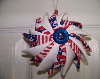 4th of July Prairie Point Ornament /red,white and blue/Patriotic