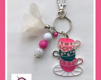 Tea Cups Keychain/bookbag charm