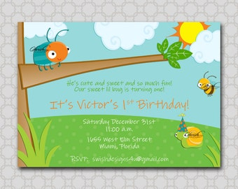 Bug Birthday Party Invitation - Cute as a bug birthday invite - first birthday Beetle printable diy party