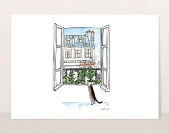 Cat illustration - Fine Art Print - Frameable