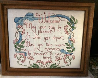 Vintage Framed Welcome Counted Cross Stitch Embroidery Panel