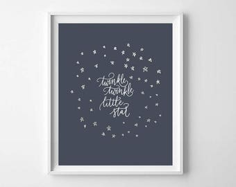 Twinkle Twinkle Little Star Print, Printable Art, Navy Blue Nursery, Nursery Print, Kids Room Decor, Baby Wall Art, Hand Lettered Print