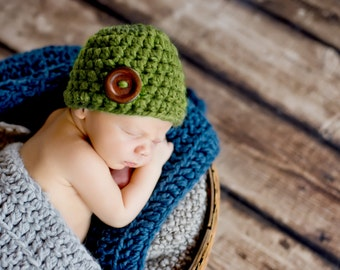 Newborn Baby Hat Newborn Baby Girl Hat Newborn Baby Boy Hat Baby Beanie Baby Shower Gifts Photo Props Photography Props Green Grass Button