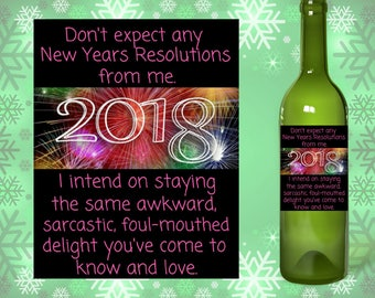New years eve wine label, new years eve decorations, funny new years label, funny new years champagne label, funny new years host gift,