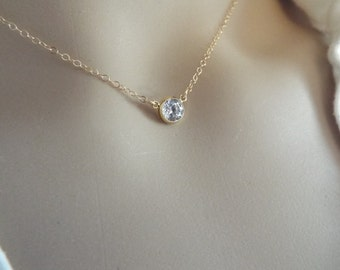 Single CZ Necklace Tiny Diamond Choker 14k Gold Fill or Sterling Silver Solitaire Necklace Everyday Layering Necklace