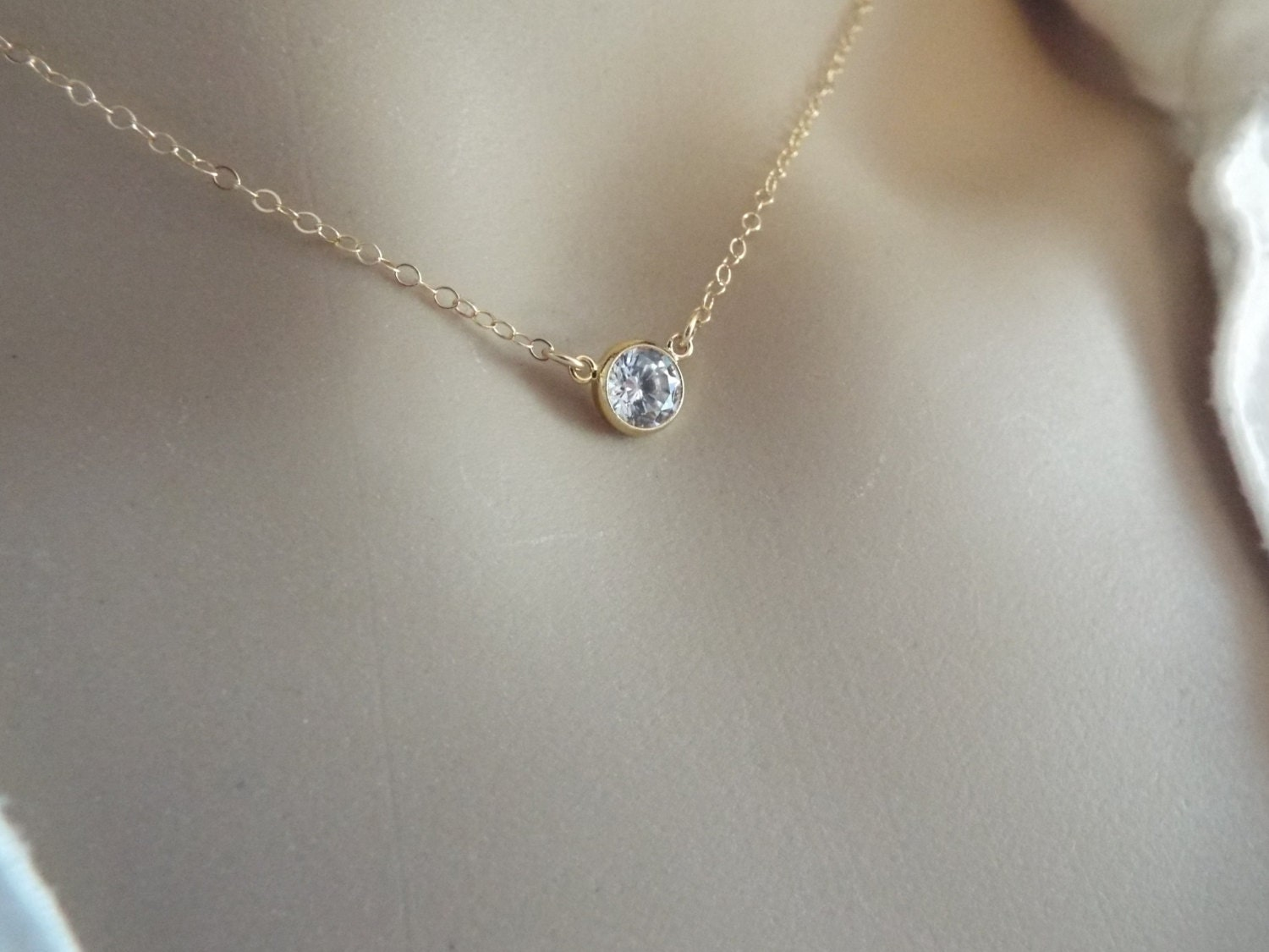 Single cz necklace tiny diamond choker 14k gold fill or zoom mozeypictures Image collections