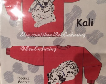Knitted Sweater Pattern with Dalmatian Dog on Front and Back