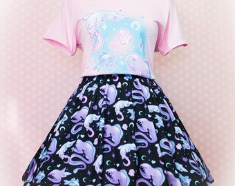 Deep Creeps, Skater Skirt, Pastel Goth Clothing, Plus Size, Everyday Goth, Kawaii, Creepy Cute Clothing, Soft Grunge, Aesthetic