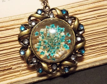 Blue and Bronze Preserved Flower Pendant