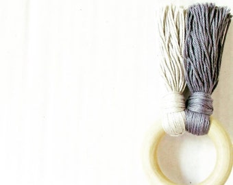 Grey wood Teether , teething toy for baby boy