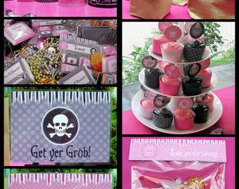 Pirate Princess Party Invitations & Decorations - full Printable Package - INSTANT DOWNLOAD with EDITABLE text - you personalize at home