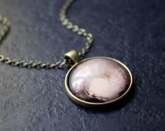 Pluto Necklace - Pluto Heart Pendant - Solar System Necklace - Science Necklace - Planet Pluto Necklace
