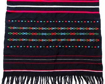 "Vintage Guatemalan Mayan Textile Hand-Woven Backstrap Loom Table Runner 78"" x 24"""