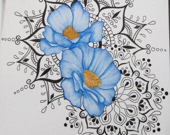 Floral mandala painting