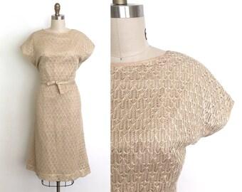 vintage 1940s dress   40s crochet knit wiggle dress