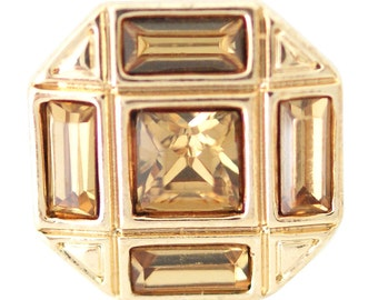 1 PC 18MM Yellow Octagon Rhinestone Gold Candy Snap Charm ds5157 CC1672