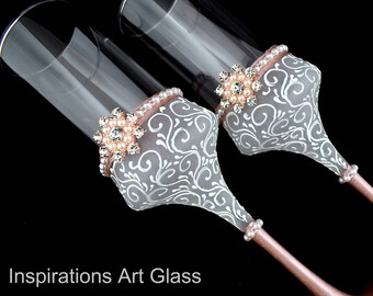 Rose gold Wedding glasses, Hand painted glasses, Snowflake Glasses, Personalized Champagne Glasses, Rose gold glasses, Set of 2