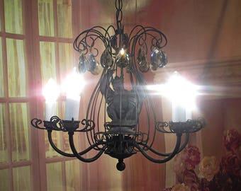 Antique Vintage Chandelier Scrolled Brass Gargoyle Black Pendant Fixture Lamp