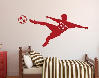 Soccer Wall Decal - Personalized Name Wall Decal & Number - Children's Room - Kids Infant Teen Room Wall Decal - Soccer Vinyl Wall Decal
