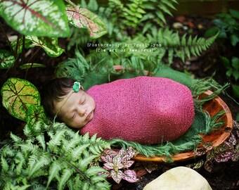 Peppermint Newborn Tieback. Photography Prop, Pale Blue and Mint Flower Tieback, Baby Photo Prop, Rustic Flower Headband, Organic