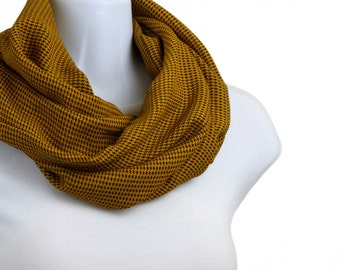 Super Soft Woolly INFINITY scarf Houndstooth - Mustard and Black WIDE ~ WL026-S5