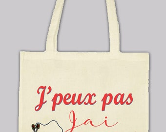 Natural cotton Tote bag bag: I can't I have knit