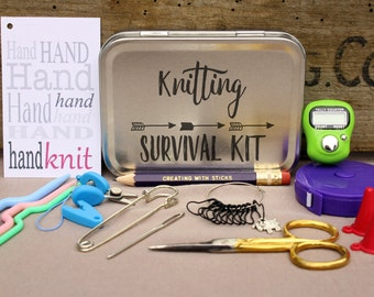 Knitting Notions Tin- Knitting Survival Kit, Project Bag Tool Tin, Knitting Notions, Knitting Tool Box, Gift for Knitters, Knitting Kit