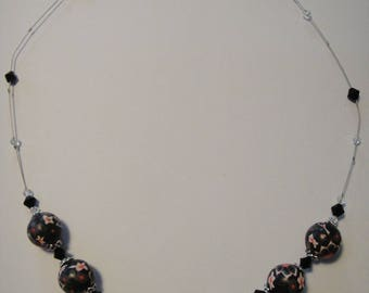 Polymer clay, black tones, background floral Bead Necklace