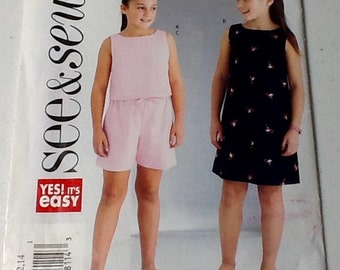 See and Sew Girls Top Shorts pattern, uncut, size 7-14