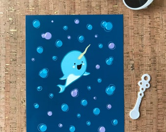 Wall Art | Home Decor | Nursery | Kids | Narwhal | Whale | Ocean Life | Unicorn of the Sea Baby Narwhal with Bubbles 8x10 Digital Art Print