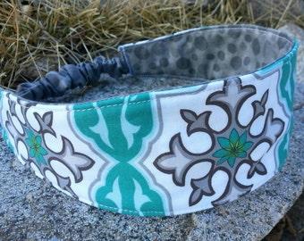 Teal & Grey Reversible  Headband, Ladies Headband, Teal Headband