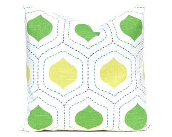 Lime Green Ogee Pillow Cover, Decorative Throw Pillow Covers, Lime Green Pillow, Lime Green Cushion Covers, Accent Pillow, Green Decor