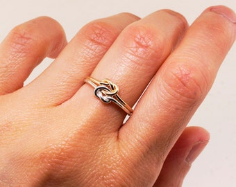 Gold and Silver Love Knot Ring - Promise Ring for Her - Double Knot Infinity Ring - Dainty Ring - Knot Ring - Engagement Ring