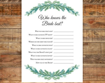Greenery Who Knows the Bride Best Printable Bridal Shower Game, Instant Digital Download