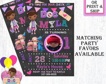 DocMcStuffins Theme Birthday-Personalized Birthday Invitation-Birthday Party Invitation