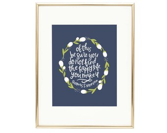 Happy Floral Print | LDS Quote Happy Life AZ108