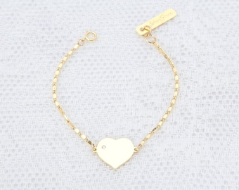 Gold Heart Bracelet, Dainty Love Bracelet, Friendship Bracelet, Bridesmaid Bracelet, Layered Bracelet, Everyday Gold Filled Jewelry.