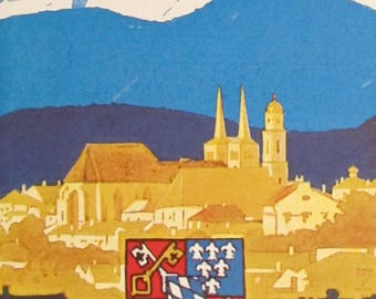 1920s Vintage German Art Deco Original Poster, Berchtesgaden Alps Travel Poster, Ludwig Hohlwein