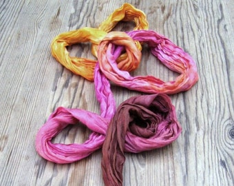 Sunset hand dyed hand painted crinkle ombre orange long scarf Bohemian Clothing summer feminine soft