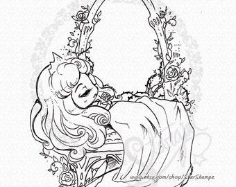 Sleeping Beauty DIGITAL STAMP Instant Download