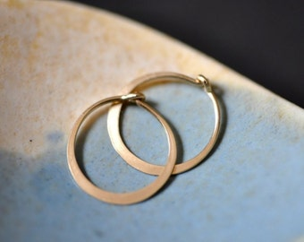 ULTRA MINI 11mm 7/16 inch solid 18K yellow gold  or rose gold hoop earrings - perfect for sensitive piercings and children