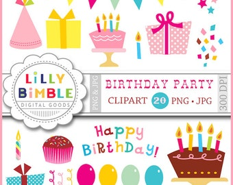 Birthday Party clipart with balloons, gifts, confetti, candles, cupcakes, hats, Instant download