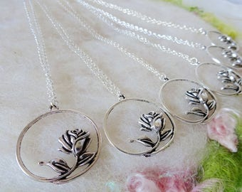 Rose Bud Necklace 6 Silver Bridesmaid Wedding Party Shower Gifts Rose Pendant Detailed Rose Silver Circle Small Chain