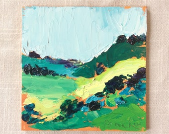 Contemporary, abstract, landscape, 6x6 inch, green and yellow, hills, blue sky, miniature landscape