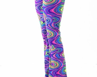 Womens Boot Cut Neon Glow Worm High Waist Spandex Leggings Yoga   152816