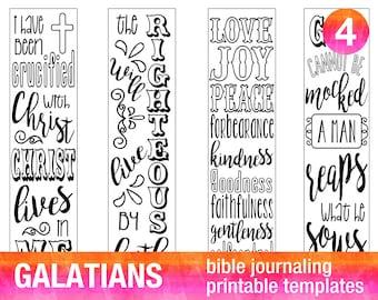 4 Bible journaling prayer journal printable templates illustrated christian faith bookmarks bible verse GALATIANS