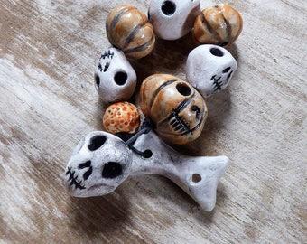 Halloween Set - Artisan made ceramic beads - set of 9 - Jack O Lantern and Skulls